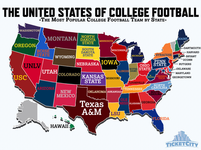 Most popular college football team by state. (Provided)