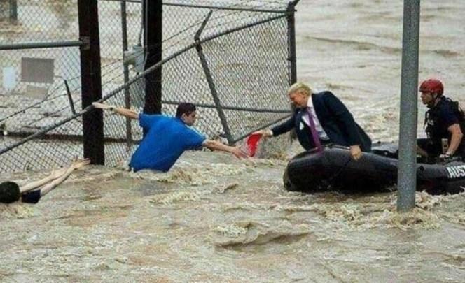 Foto viral de Trump 'rescatando' víctimas del huracán Florence es falsa