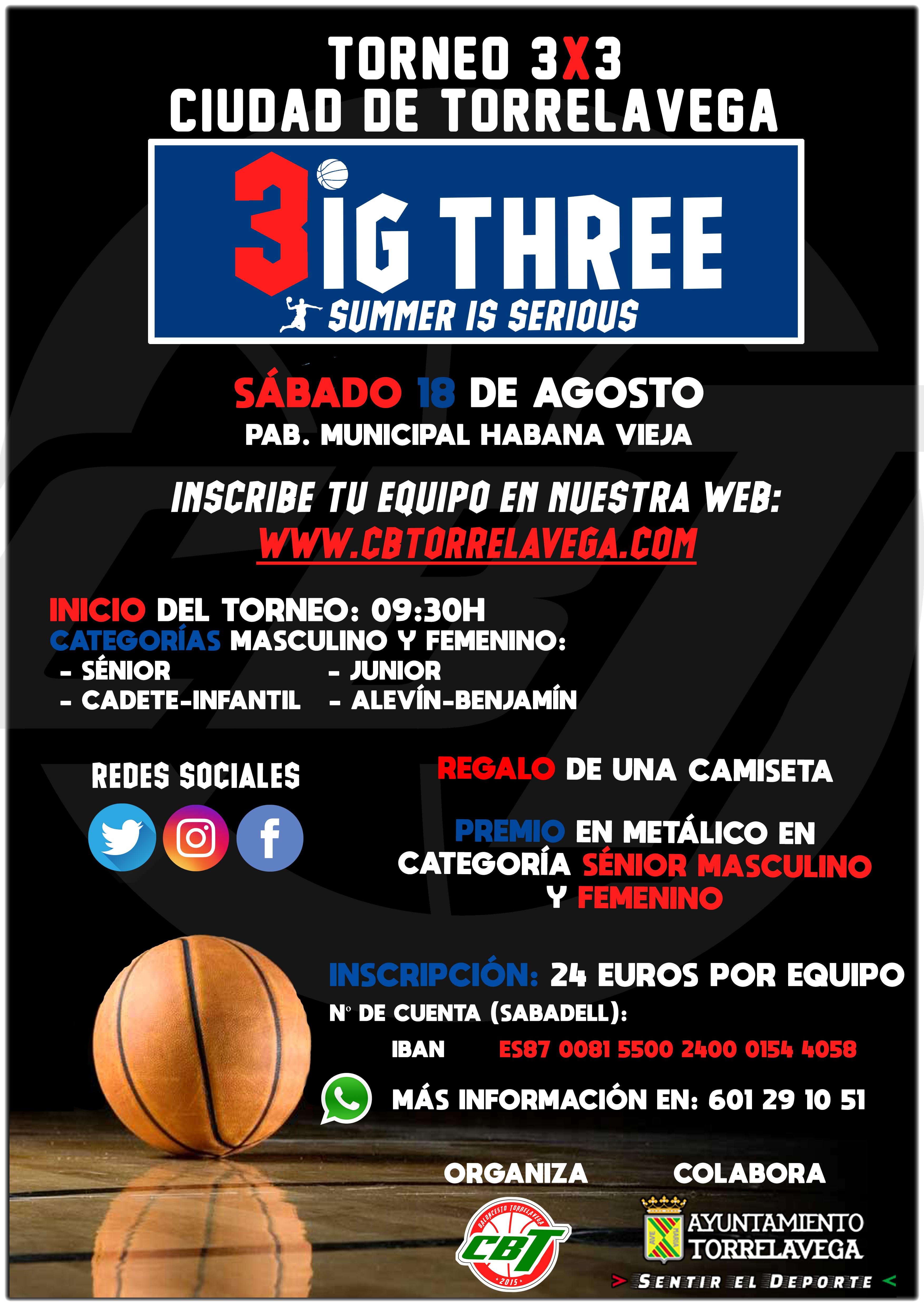 Cartel del Torneo 3x3 Verano CBT Torrelavega