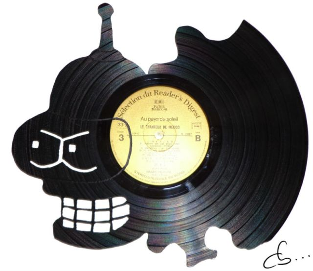 bender, carved out of a vinyl record