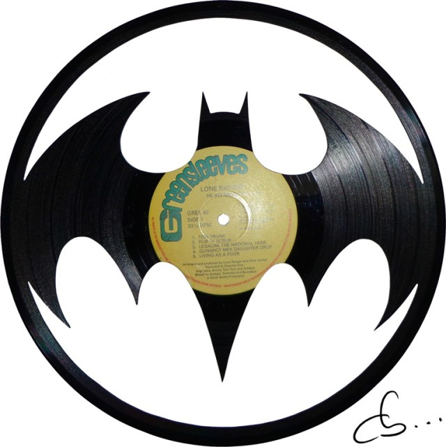batman returns logo carved out from a recycled vinyl record