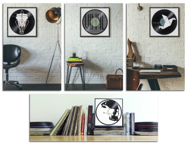 vinyl records art framed on a wall