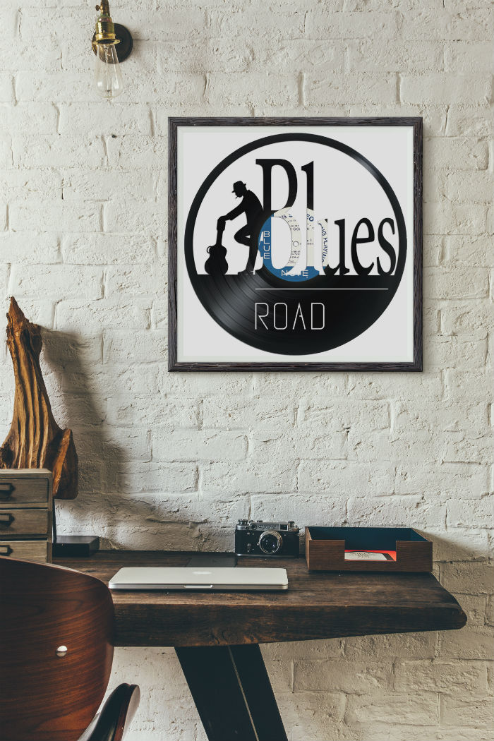 blues design carved out from a recycled vinyl record