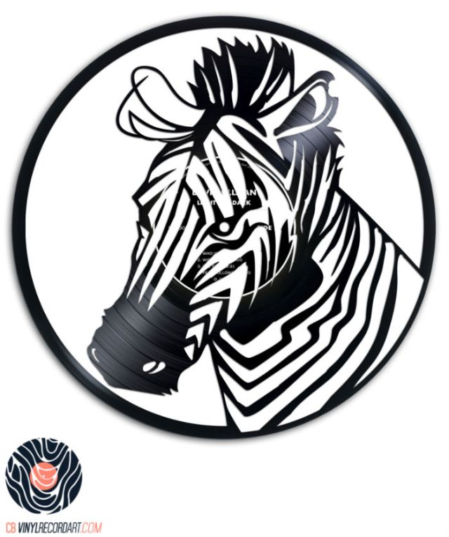 zebra carved out from a recycled vinyl record