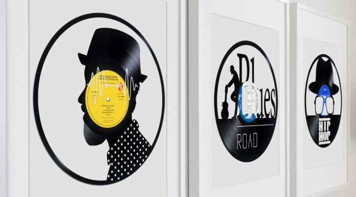 3 framed sculptures on vinyl records