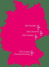 Bildungszentren der CBZ-Gruppe / Standorte Bayern und Sachsen