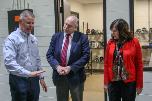 Jeff Stohr, CEO, discusses our new demonstration space with Mayor Clough and Director Boczek