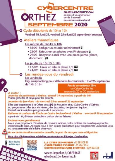 Flyer - Cybercentre - Orthez - Septembre 2020