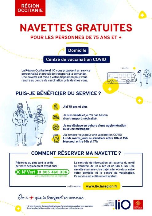 Affiche navettes gratuites vers centres de vaccination Covid - Région Occitanie liO + TAD gratuit