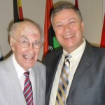 Photo of John Pellowe with John Richardson after his 100th birthday