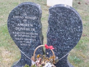 A tombstone 'heart' broken in two