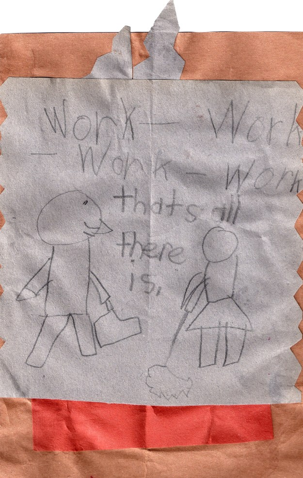 Child's drawing of working parents