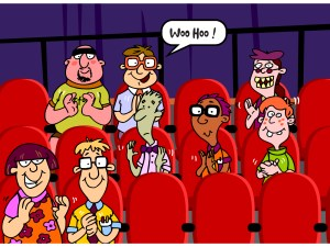 Cartoon audience, clapping.