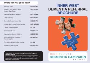 Inner West Dementia Referral Brochure - English