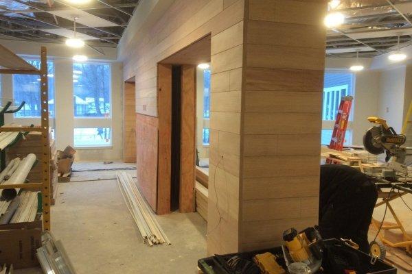 Marycrest Manor interior construction with wooden doorways