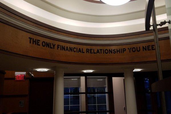 11DFCU Brighton slogan on ceiling