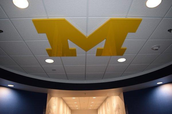 University of Michigan logo on ceiling