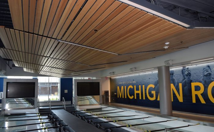11University of Michigan rowing practice room with televisions