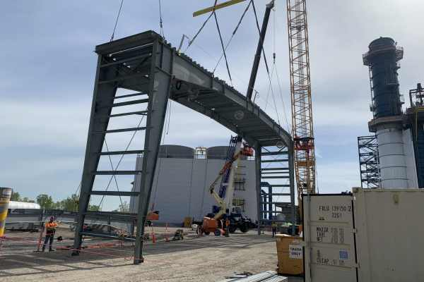 11gray metal frame at Kiewit Power construction site