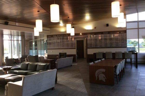 Michigan State University golf center common room with tables