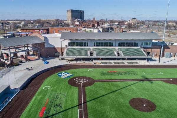 The Corner Ballpark baseball field with bleachers