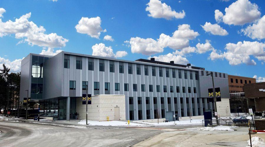 UM Murchie Hall exterior with snow