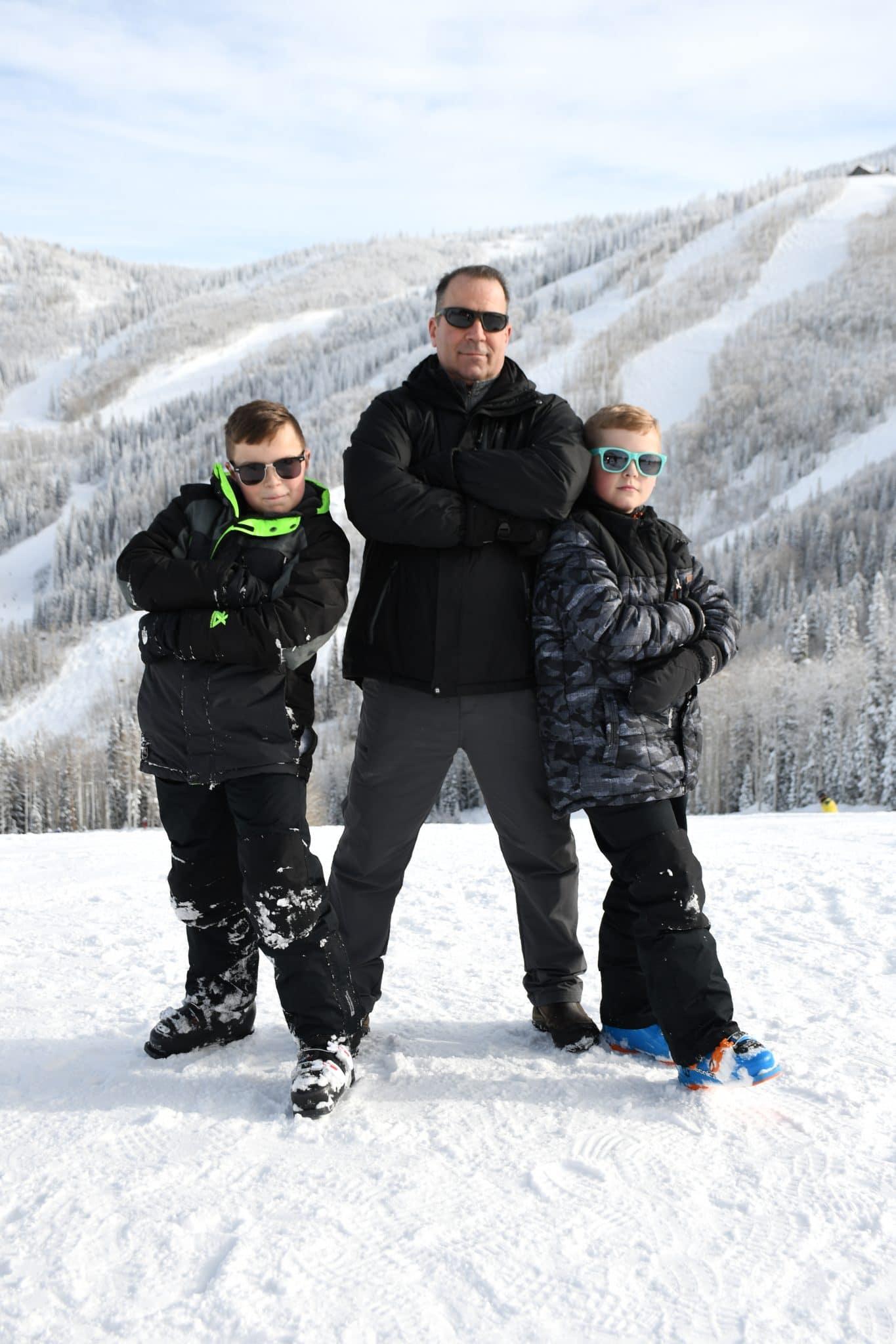 11Jim Salkowski and sons on snowy mountain