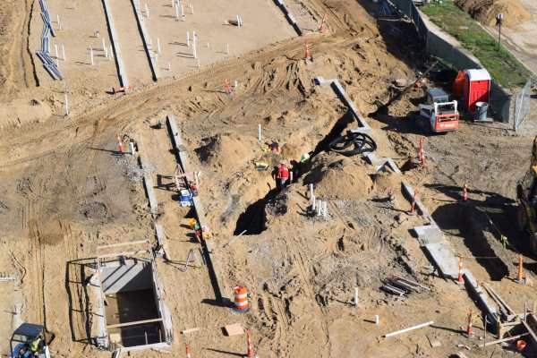11sky view of dirt construction site