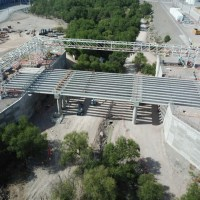 drone photo of construction site with concrete pillars