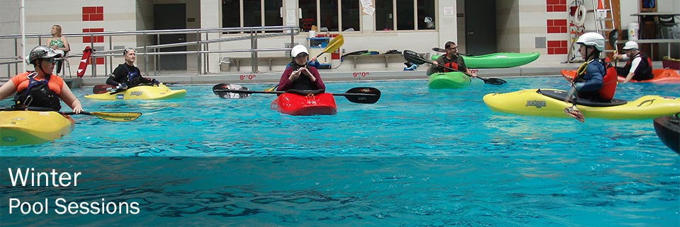 Winter kayak pool sessions