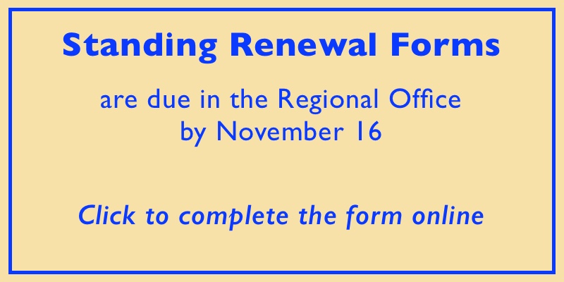 Standing renewal forms for Kentucky clergy