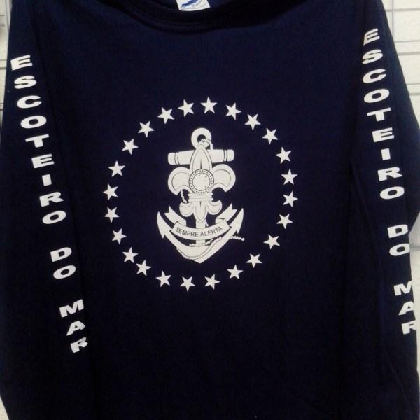 0037 - Camisa Escoteiros do Mar  Azul-MangaCompr - R$ 35,00