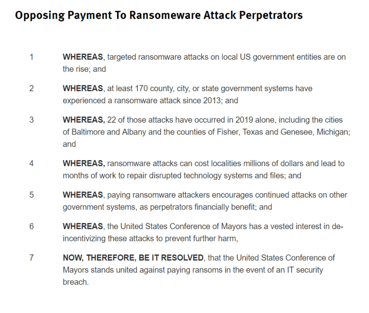 US cities not paying hackers in Bitcoin ransomware attacks