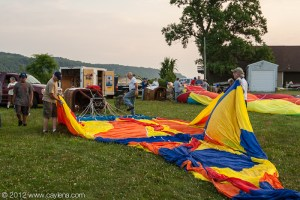Unfolding the balloon in preparation to heat the air and inflate it, Poughkeepsie, NY. (July 7, 2012)