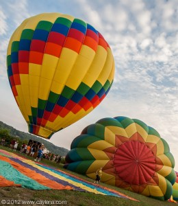 The balloons inflating at the Hudson River Rowing Association Boathouse, Poughkeepsie, NY. (July 7, 2012)