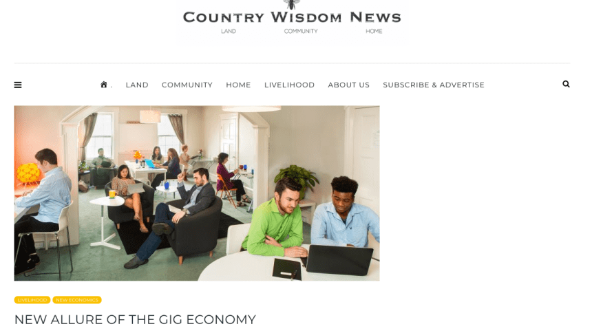 Caylena Cahill interviewed as expert on the Gig Economy for Country Wisdom News