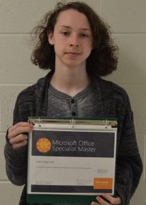 Aiden Hall, CHS Sophomore, achieves Microsoft Office Specialist Master Certification.