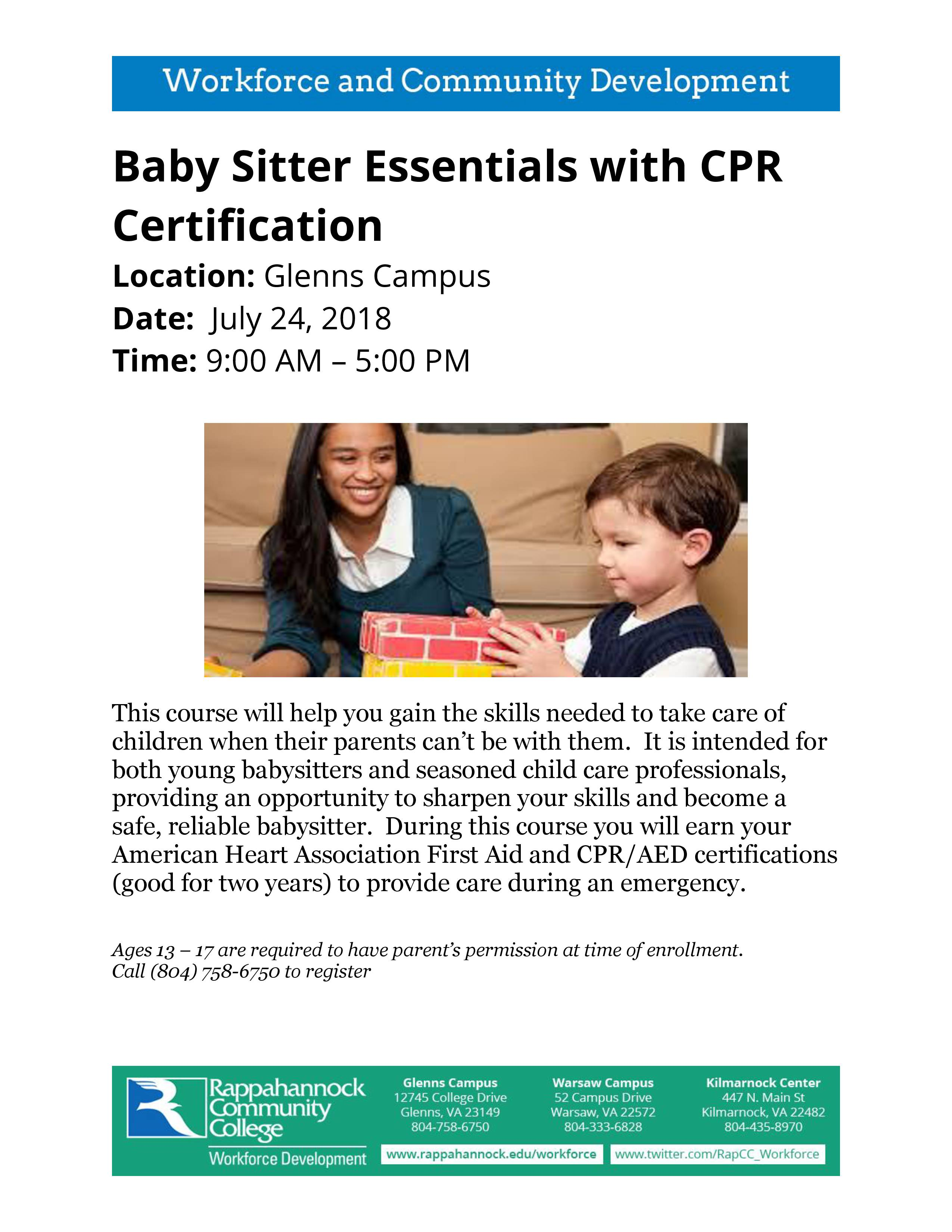 1 New Babysitting Essentials With Cpr Certification 1 Caroline
