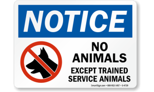 No pets except trained service animals