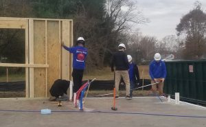 CHS Carperntry students raise a house wall