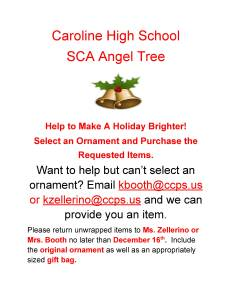 Flyer for the Caroline High 'School Student Council Association Angel Tree