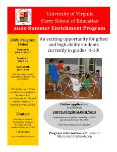 University of Virginia Curry School of Education 2020 Summer Enrichment Program