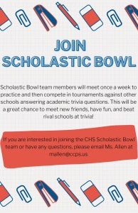 This is an explanation of, and invitation to join, the CHS Scholastic Bowl Team.