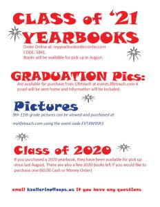 End of year informatin about yearbooks