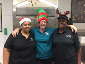 cafeteria ladies with holiday hats