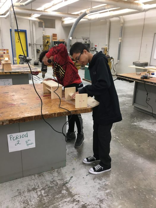 agriculture students doing woodwork