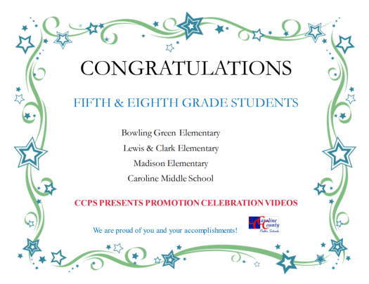 Congratulations 5th and 8th Grade Students