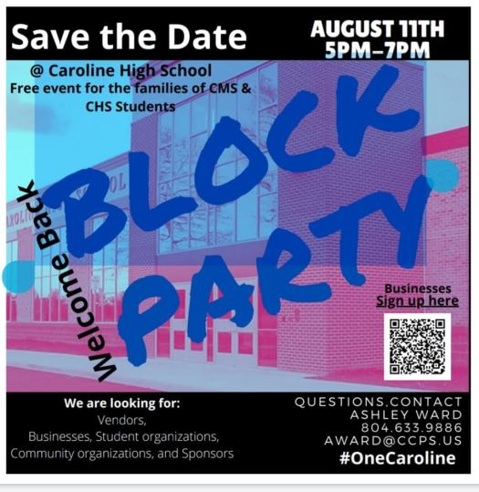 Block Party 8/11/2021 from 5 to 7 at CHS