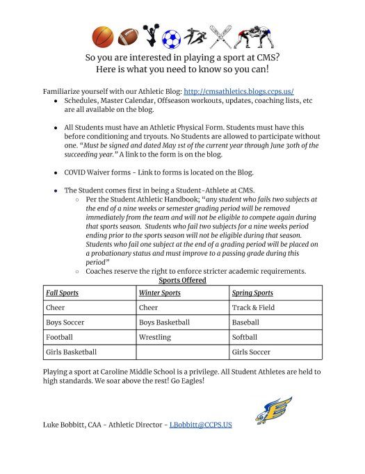 Sports information for CMS