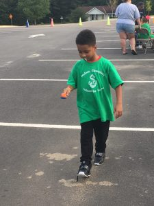 Student in an egg race